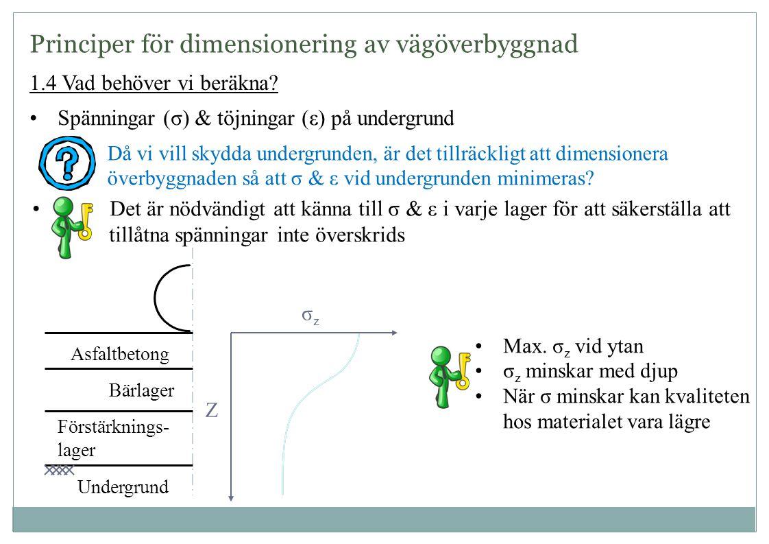 1.4 Vad behöver vi beräkna? •Spänningar (σ) & töjningar (ε) på undergrund Då vi vill skydda undergrunden, är det tillräckligt att dimensionera överbyg