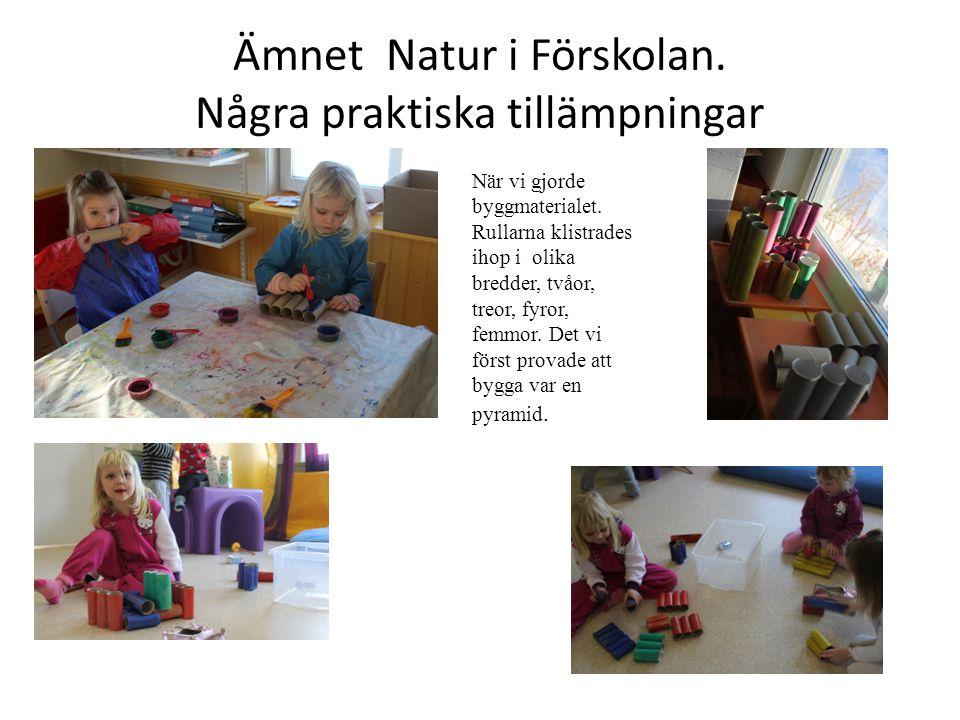 Ämnet Natur i Förskolan. Några praktiska tillämpningar När vi gjorde byggmaterialet. Rullarna klistrades ihop i olika bredder, tvåor, treor, fyror, fe