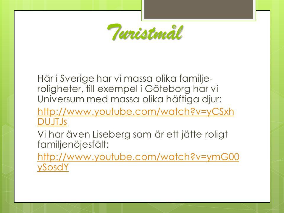 Turistmål Här i Sverige har vi massa olika familje- roligheter, till exempel i Göteborg har vi Universum med massa olika häftiga djur: http://www.yout