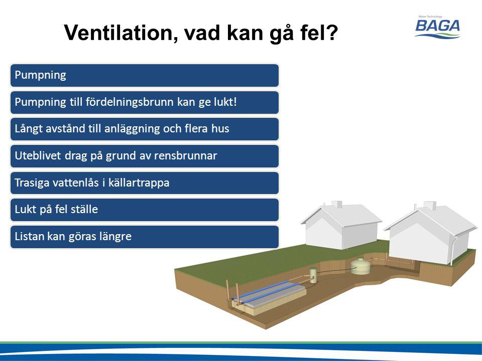 Ventilation, vad kan gå fel? PumpningPumpning till fördelningsbrunn kan ge lukt!Långt avstånd till anläggning och flera husUteblivet drag på grund av