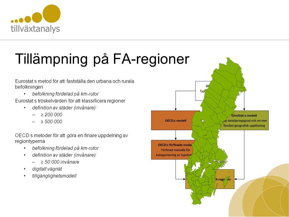 Tillämpning på FA-regioner Eurostat:s metod för att fastställa den urbana och rurala befolkningen •befolkning fördelad på km-rutor Eurostat:s tröskelv