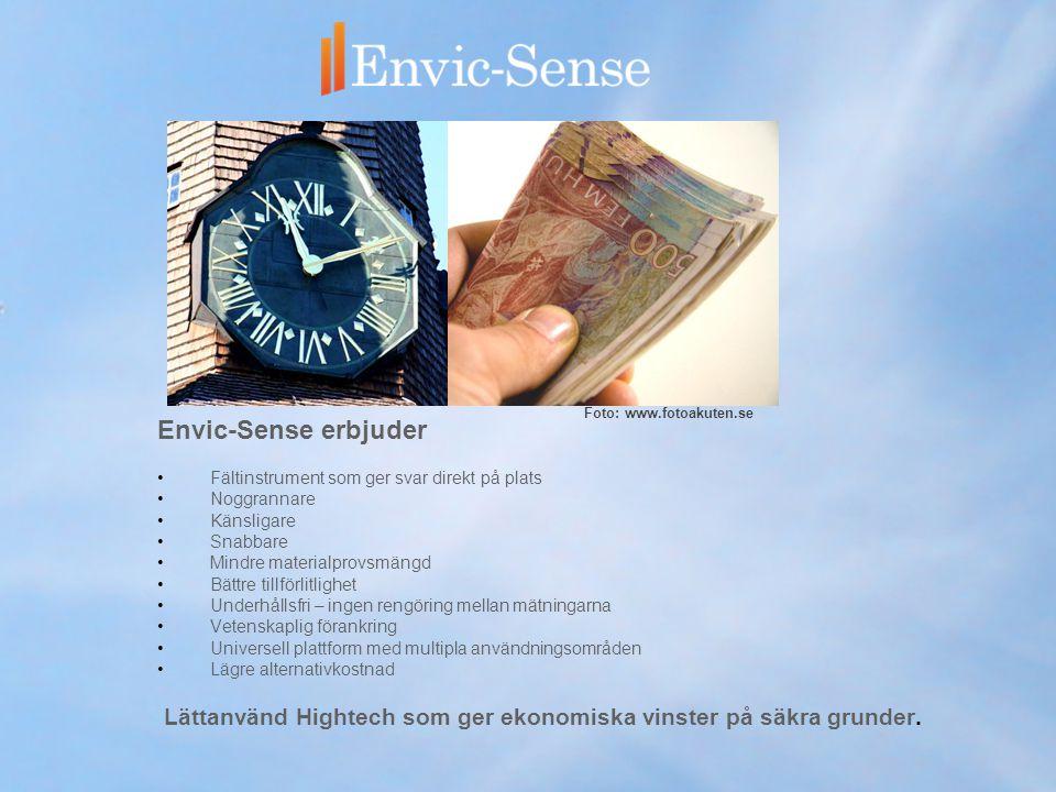 Envic-Sense erbjuder •Fältinstrument som ger svar direkt på plats •Noggrannare •Känsligare •Snabbare •Mindre materialprovsmängd •Bättre tillförlitlighet •Underhållsfri – ingen rengöring mellan mätningarna •Vetenskaplig förankring •Universell plattform med multipla användningsområden •Lägre alternativkostnad Lättanvänd Hightech som ger ekonomiska vinster på säkra grunder.