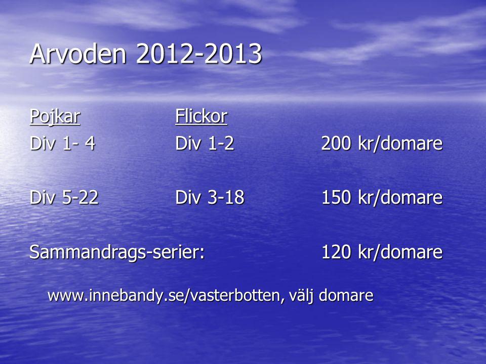 Arvoden 2012-2013 PojkarFlickor Div 1- 4Div 1-2200 kr/domare Div 5-22Div 3-18150 kr/domare Sammandrags-serier: 120 kr/domare www.innebandy.se/vasterbotten, välj domare