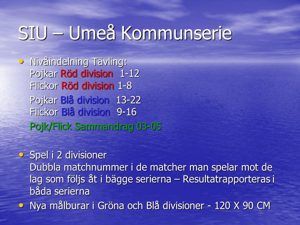 SIU – Umeå Kommunserie • Nivåindelning Tävling: Pojkar Röd division 1-12 Flickor Röd division 1-8 Pojkar Blå division 13-22 Flickor Blå division 9-16 Pojk/Flick Sammandrag 03-05 • Spel i 2 divisioner Dubbla matchnummer i de matcher man spelar mot de lag som följs åt i bägge serierna – Resultatrapporteras i båda serierna • Nya målburar i Gröna och Blå divisioner - 120 X 90 CM