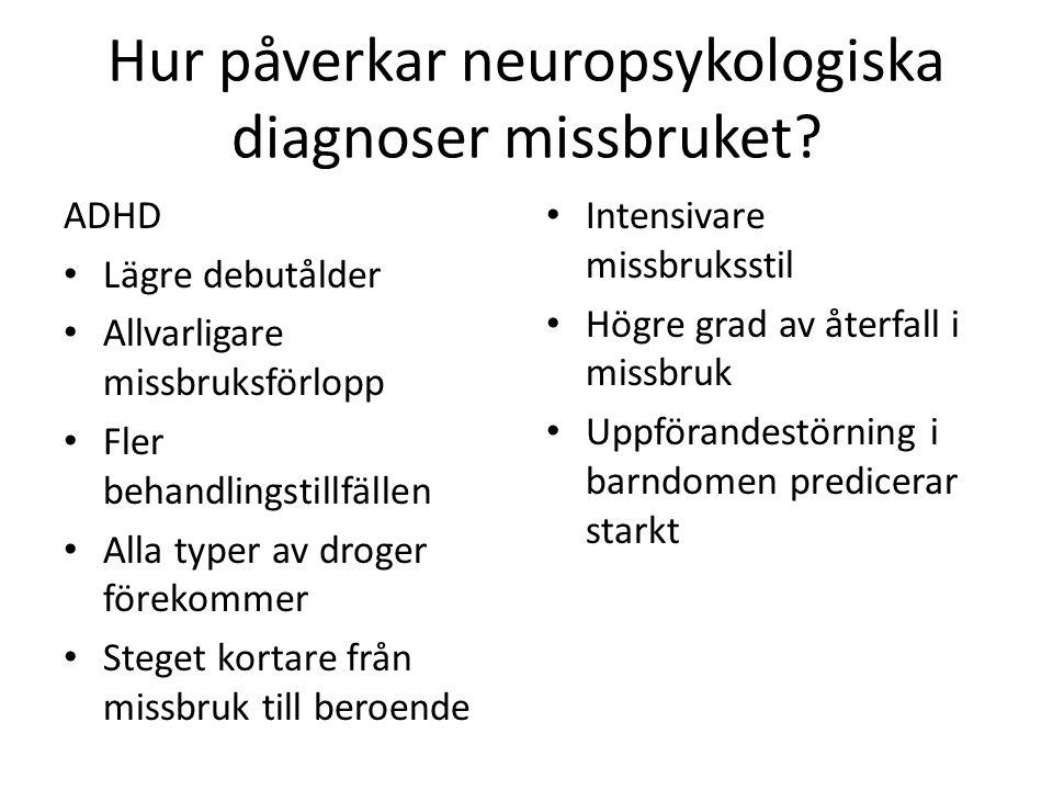 Hur påverkar neuropsykologiska diagnoser missbruket? ADHD • Lägre debutålder • Allvarligare missbruksförlopp • Fler behandlingstillfällen • Alla typer
