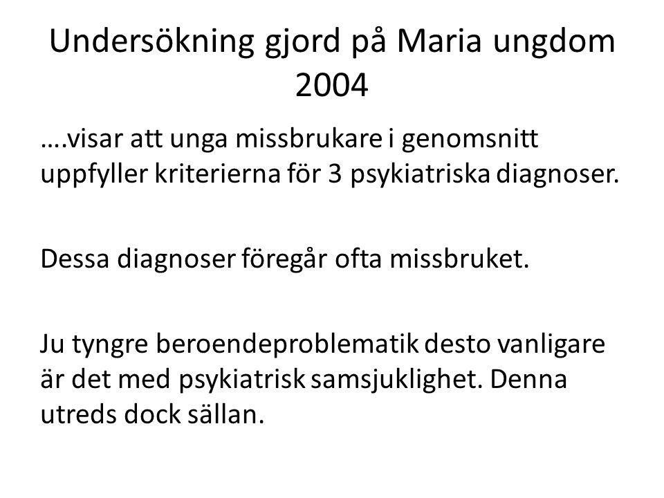 Undersökning gjord på Maria ungdom 2004 ….visar att unga missbrukare i genomsnitt uppfyller kriterierna för 3 psykiatriska diagnoser. Dessa diagnoser