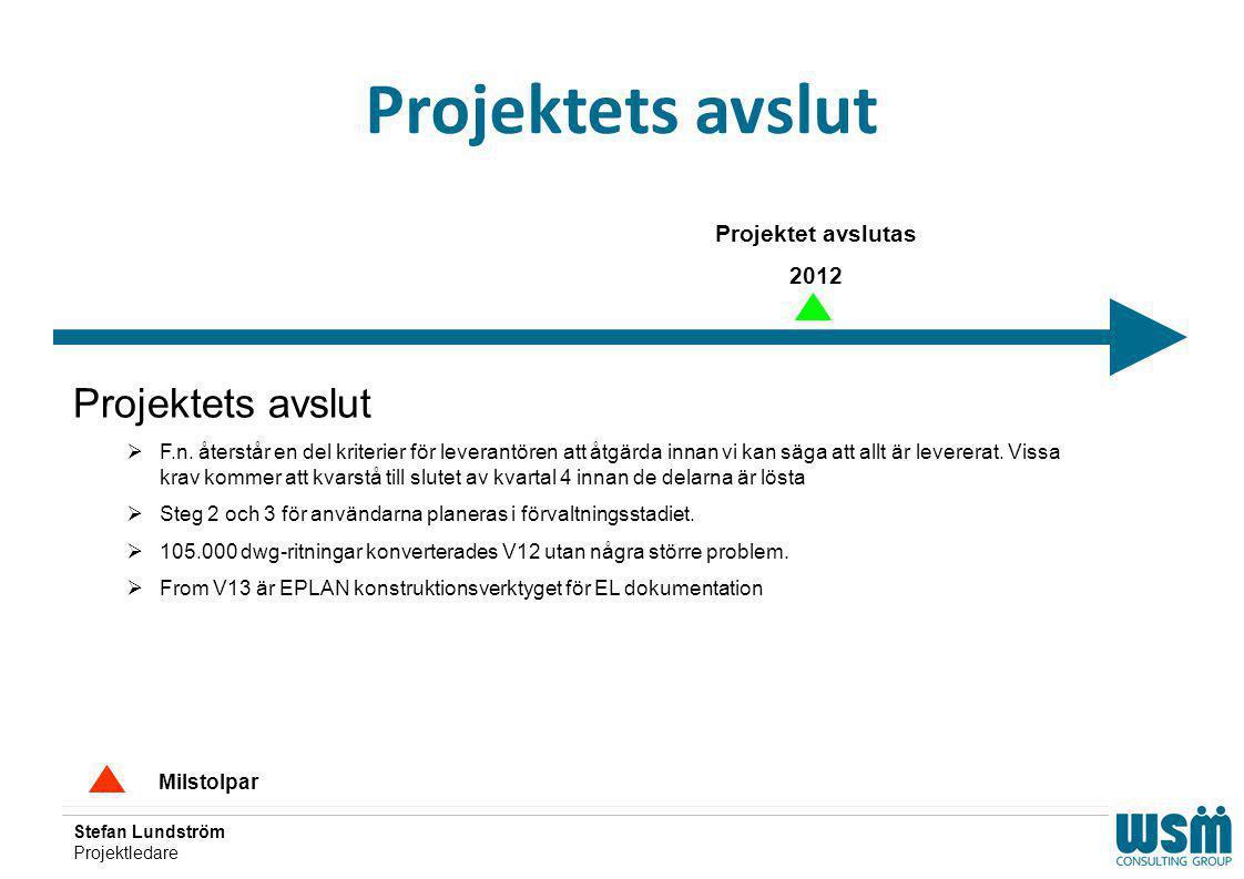Stefan Lundström Projektledare Projektets avslut Milstolpar Projektet avslutas 2012 Projektets avslut  F.n. återstår en del kriterier för leverantöre