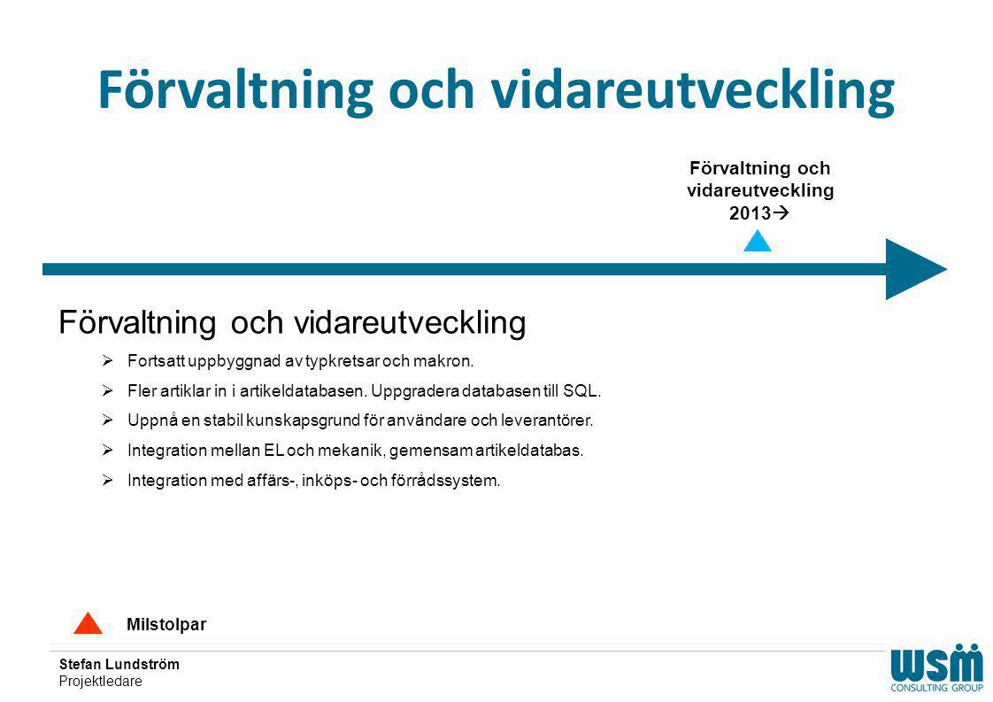 Stefan Lundström Projektledare Förvaltning och vidareutveckling Milstolpar Förvaltning och vidareutveckling  Fortsatt uppbyggnad av typkretsar och ma