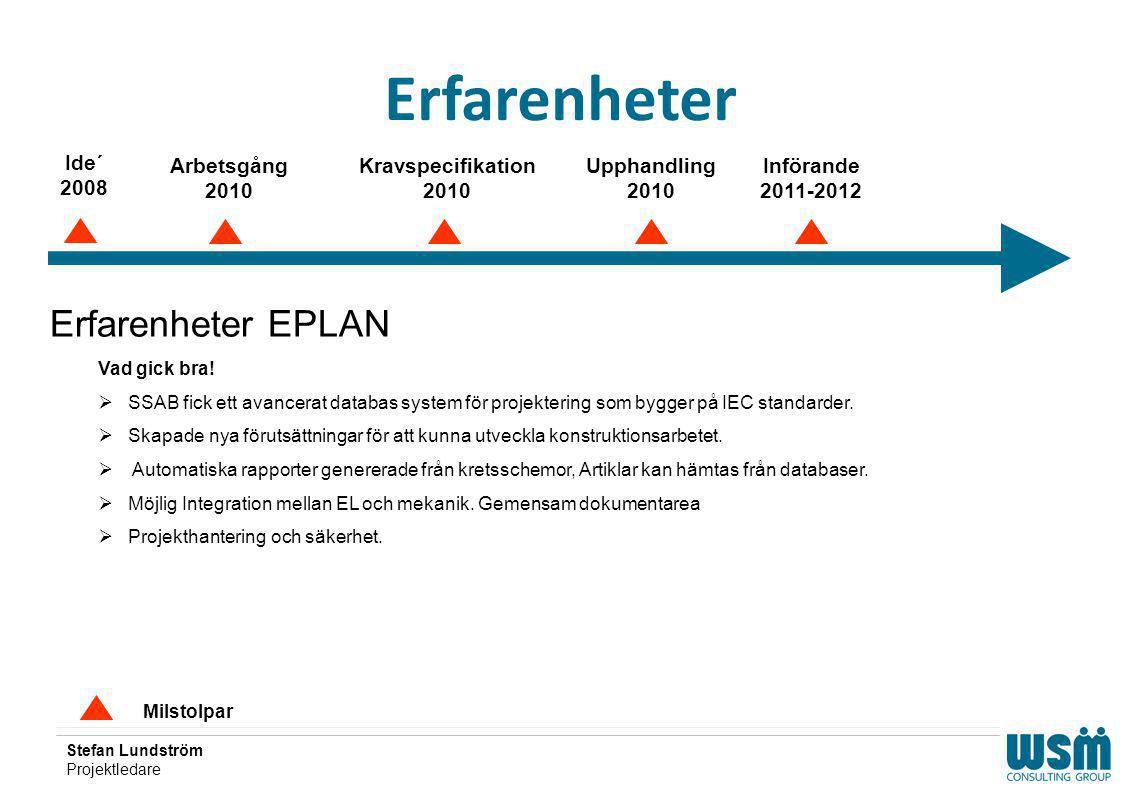 Stefan Lundström Projektledare Erfarenheter Milstolpar Erfarenheter EPLAN Vad gick bra!  SSAB fick ett avancerat databas system för projektering som