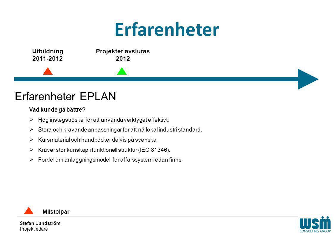 Stefan Lundström Projektledare Erfarenheter Milstolpar Erfarenheter EPLAN Vad kunde gå bättre?  Hög instegströskel för att använda verktyget effektiv