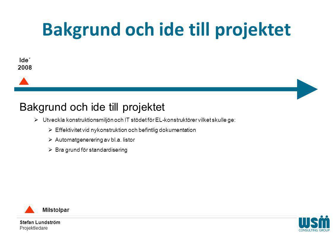 Stefan Lundström Projektledare Bakgrund och ide till projektet Milstolpar Ide´ 2008 Bakgrund och ide till projektet  Utveckla konstruktionsmiljön och