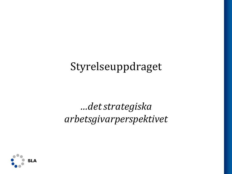 Styrelseuppdraget – strategiska arbetsgivarperspektivet Omständigheter: befintlig organisation satt av tidigare styrelser Mandatperiod styrelseuppdrage t (X år) Målsättning: Bästa möjliga arbetsorganisation