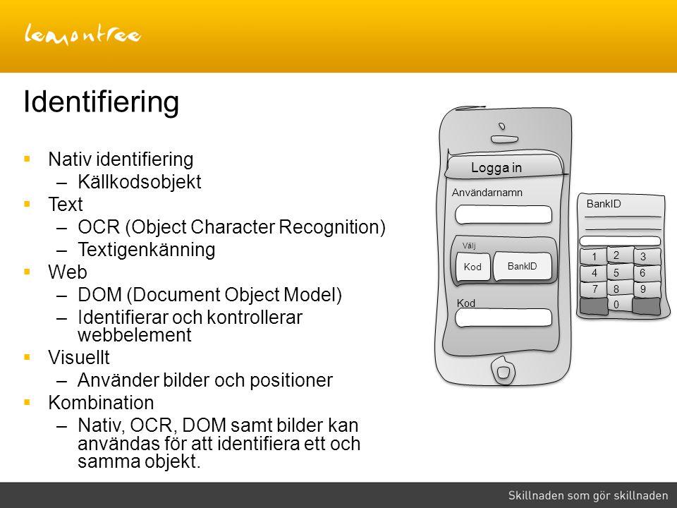 Identifiering  Nativ identifiering –Källkodsobjekt  Text –OCR (Object Character Recognition) –Textigenkänning  Web –DOM (Document Object Model) –Id