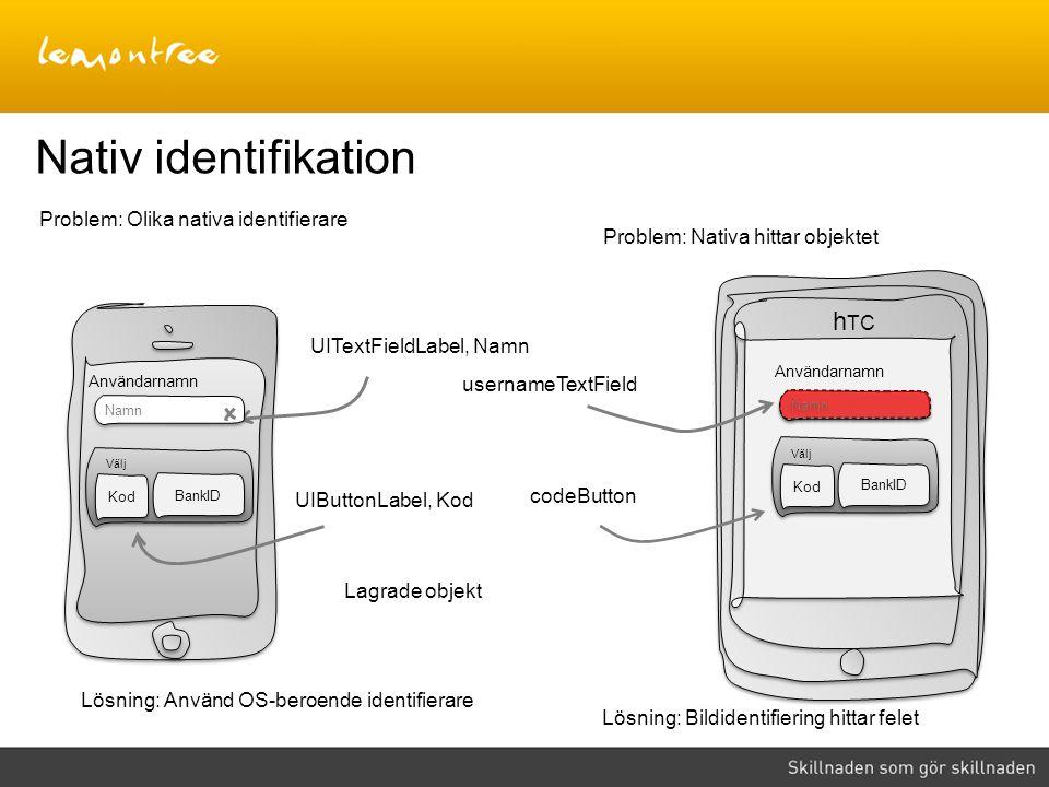 Nativ identifikation UITextFieldLabel, Namn Problem: Olika nativa identifierare Lösning: Använd OS-beroende identifierare Lagrade objekt UIButtonLabel