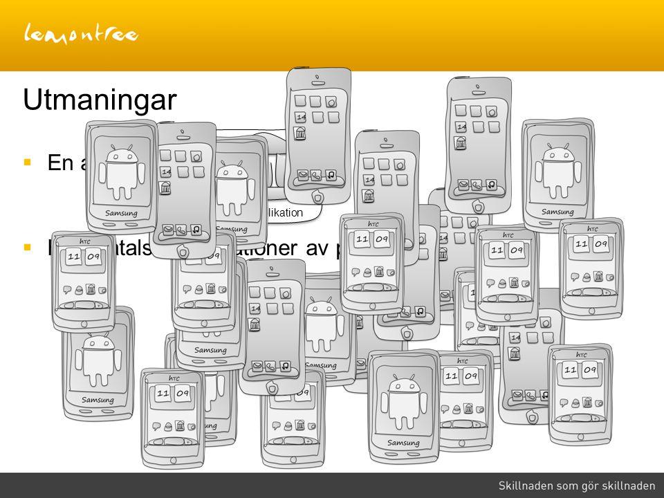  En applikation  Hundratals kombinationer av plattform och OS Utmaningar Bankapplikation