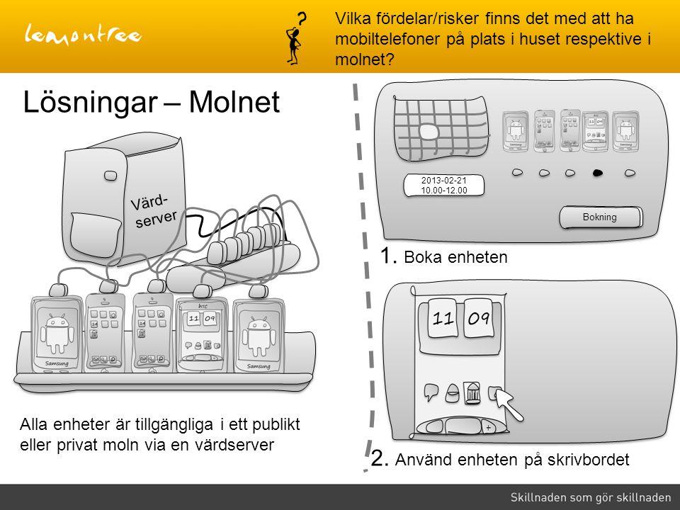 Värd- server 2. Använd enheten på skrivbordet Alla enheter är tillgängliga i ett publikt eller privat moln via en värdserver Lösningar – Molnet Lokalt