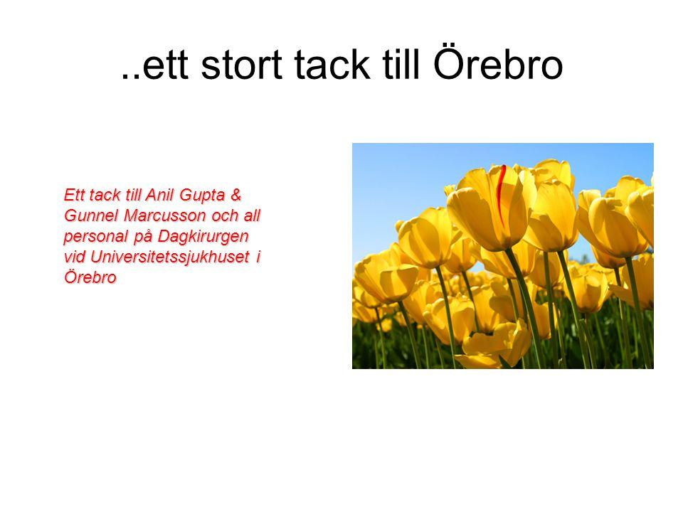 ..ett stort tack till Örebro Ett tack till Anil Gupta & Gunnel Marcusson och all personal på Dagkirurgen vid Universitetssjukhuset i Örebro