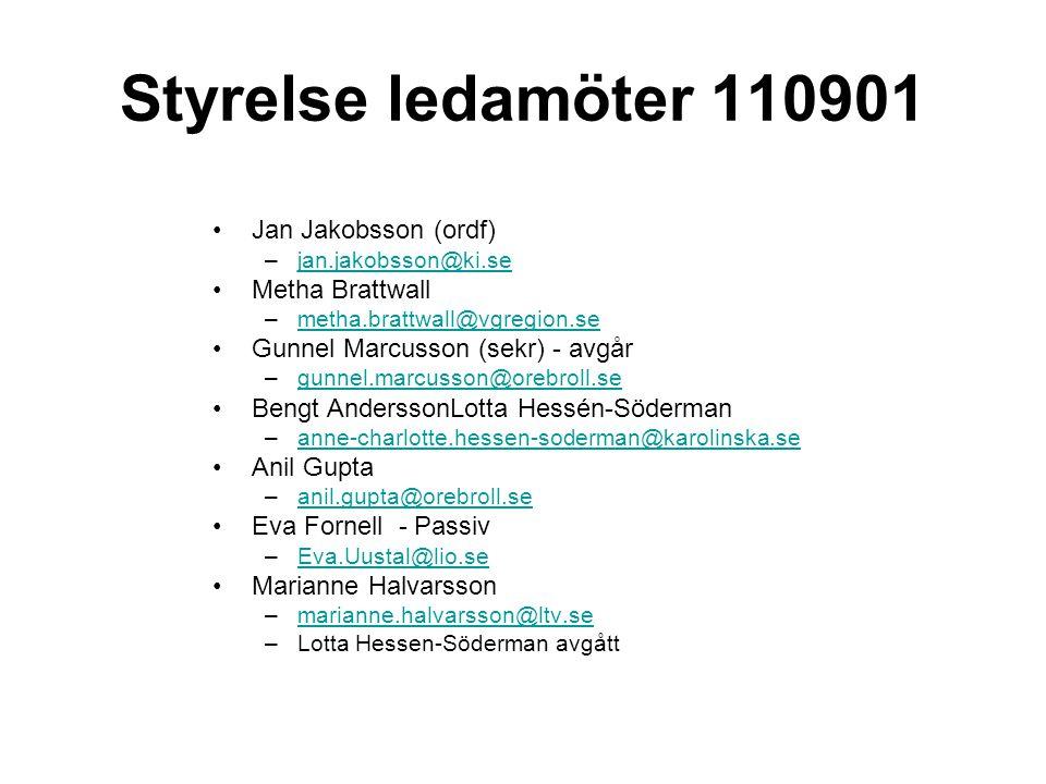 Styrelse ledamöter 110901 •Jan Jakobsson (ordf) –jan.jakobsson@ki.sejan.jakobsson@ki.se •Metha Brattwall –metha.brattwall@vgregion.semetha.brattwall@v