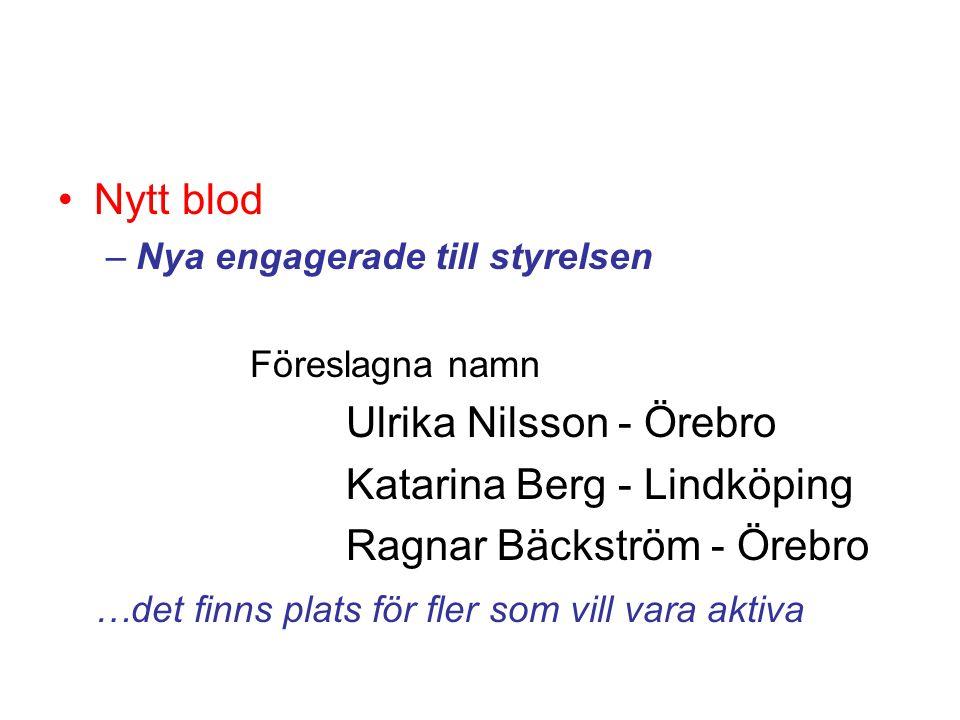 •Nytt blod –Nya engagerade till styrelsen Föreslagna namn Ulrika Nilsson - Örebro Katarina Berg - Lindköping Ragnar Bäckström - Örebro …det finns plat