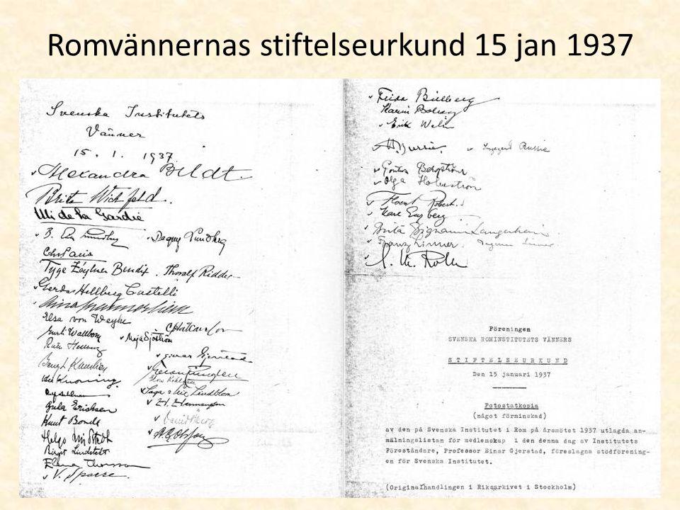 Romvännernas stiftelseurkund 15 jan 1937