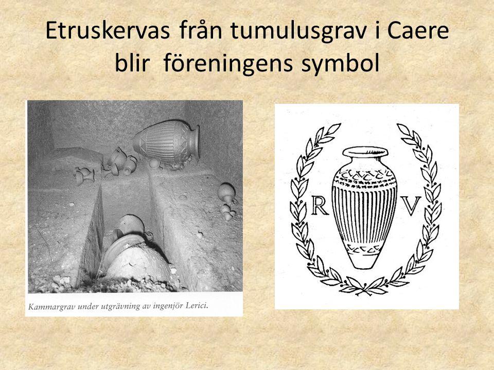 Etruskervas från tumulusgrav i Caere blir föreningens symbol