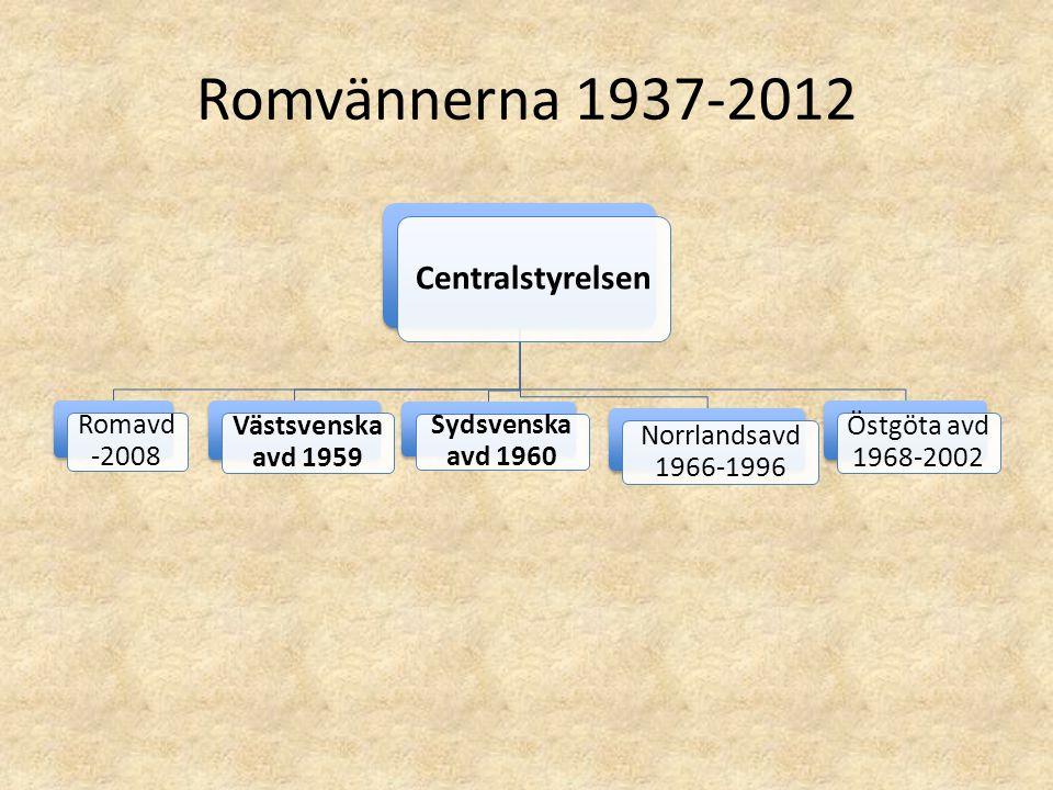 Romvännerna 1937-2012 Centralstyrelsen Romavd -2008 Västsvenska avd 1959 Sydsvenska avd 1960 Norrlandsavd 1966-1996 Östgöta avd 1968-2002