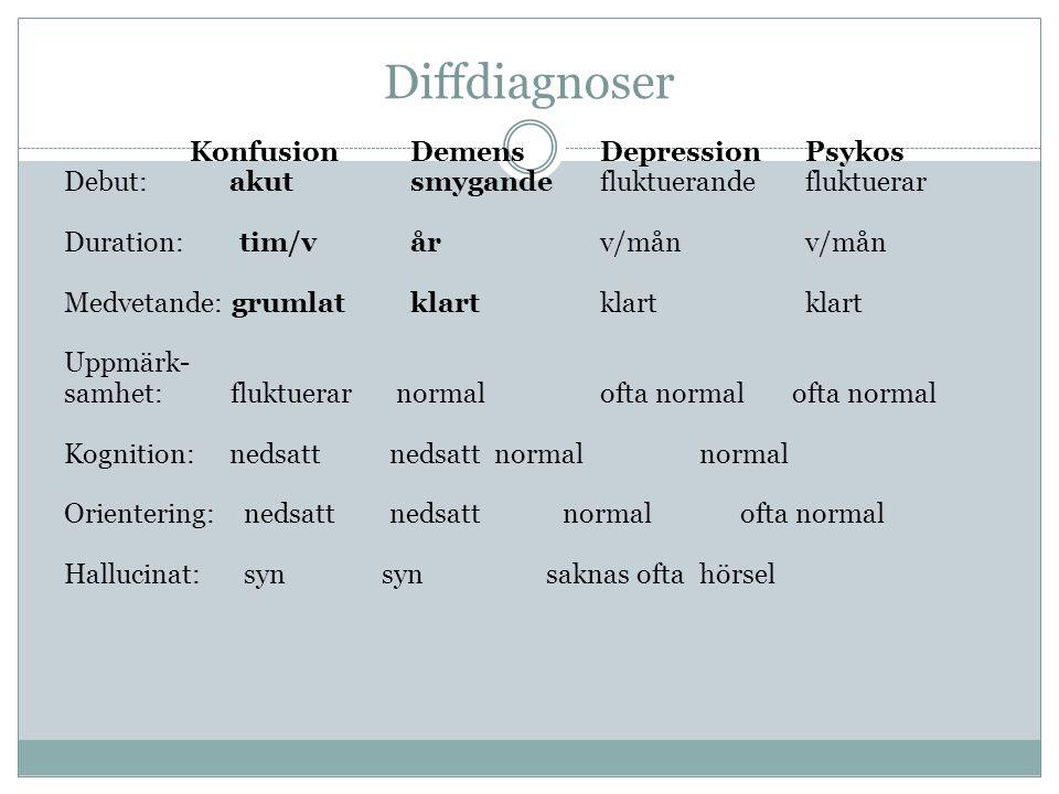 Diffdiagnoser Konfusion Demens Depression Psykos Debut: akut smygande fluktuerandefluktuerar Duration: tim/v år v/månv/mån Medvetande: grumlat klart k