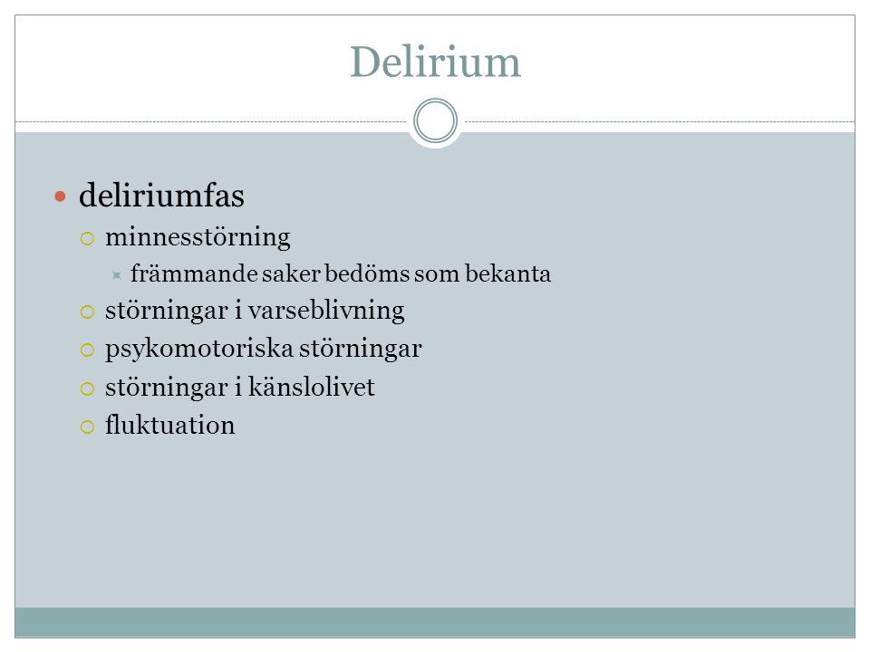 Delirium  deliriumfas  minnesstörning  främmande saker bedöms som bekanta  störningar i varseblivning  psykomotoriska störningar  störningar i k