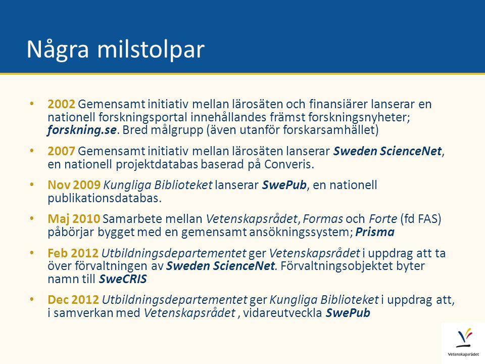 Några milstolpar • 2002 Gemensamt initiativ mellan lärosäten och finansiärer lanserar en nationell forskningsportal innehållandes främst forskningsnyh