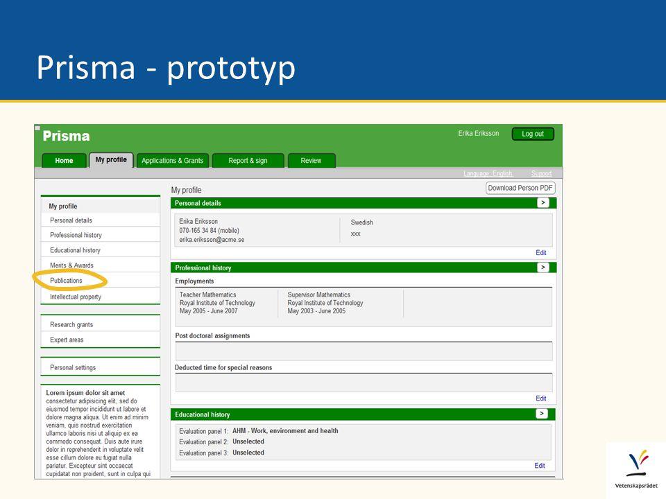 Dataexporter Datakällor Prisma-portalen Vetenskapsrådet Prisma - systemöversikt Forskare Mina sidor • Person- uppgifter • CV • Publikationer Mina sidor • Person- uppgifter • CV • Publikationer Ansökn./Rapp.