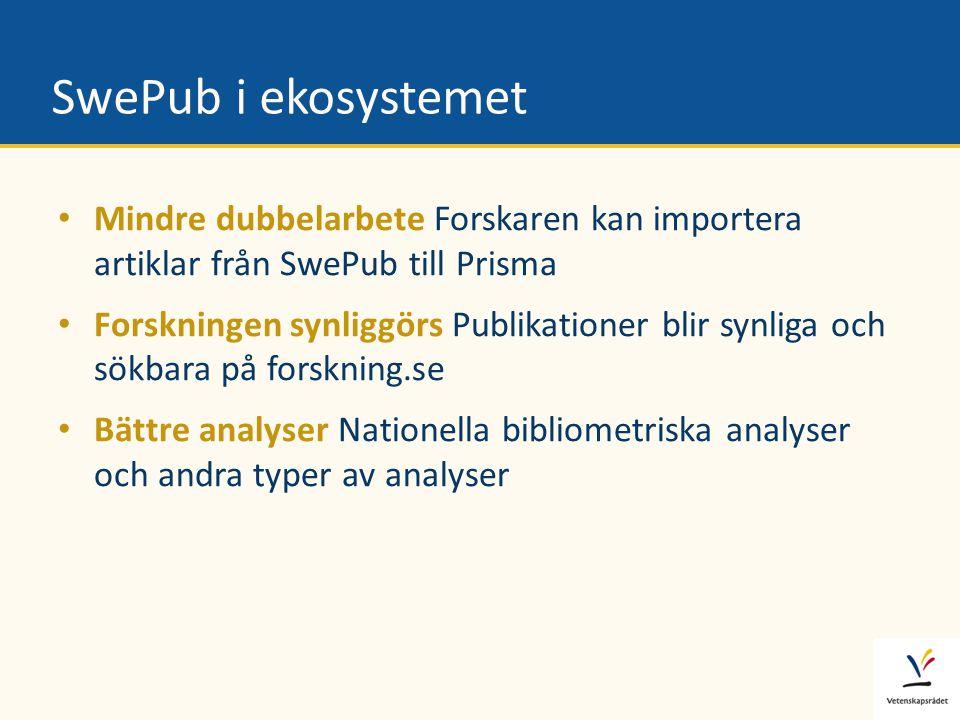 SwePub i ekosystemet • Mindre dubbelarbete Forskaren kan importera artiklar från SwePub till Prisma • Forskningen synliggörs Publikationer blir synlig