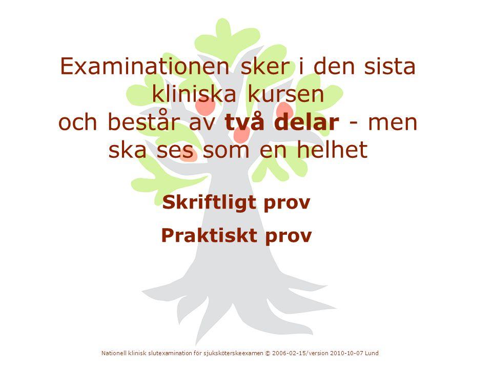 Nationell klinisk slutexamination för sjuksköterskeexamen © 2006-02-15/version 2010-10-07 Lund Examinationen sker i den sista kliniska kursen och best