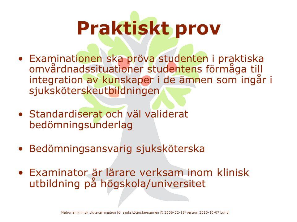 Nationell klinisk slutexamination för sjuksköterskeexamen © 2006-02-15/version 2010-10-07 Lund Praktiskt prov •Examinationen ska pröva studenten i pra