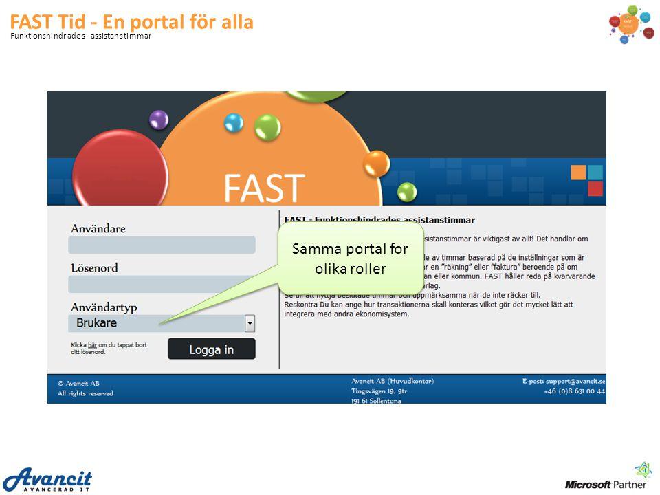 FAST Tid - En portal för alla Funktionshindrades assistanstimmar Samma portal for olika roller