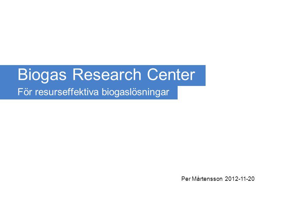 Biogas Research Centerwww.liu.se/brcPer Mårtensson 2012-11-20www.liu.se/brc Etapp 1 – forskningsutmaningar 1.Mer gas ur befintliga system 2.Nya substrat 3.Nya sektorer 4.Samverkan för bättre prestanda 5.Villkor för utveckling