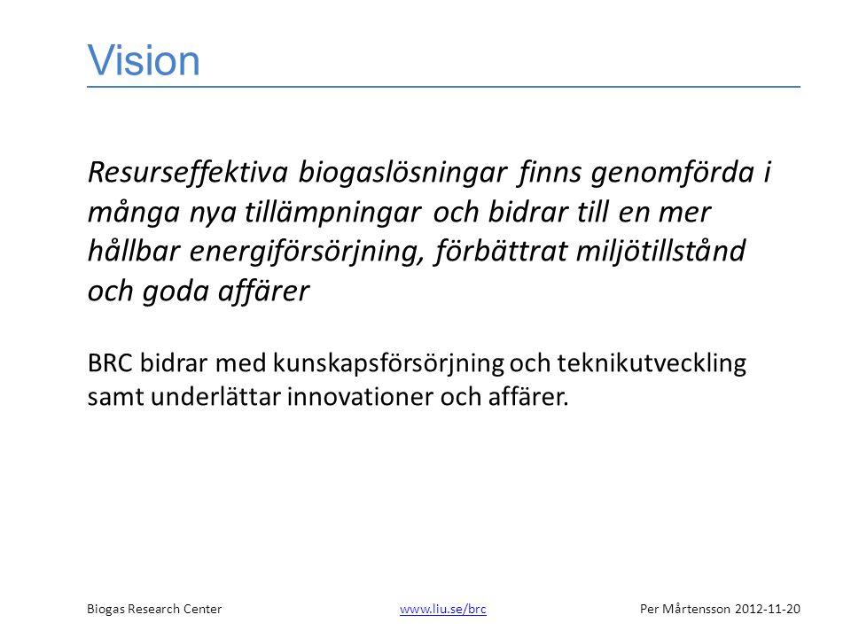 Biogas Research Centerwww.liu.se/brcPer Mårtensson 2012-11-20www.liu.se/brc Vision Resurseffektiva biogaslösningar finns genomförda i många nya tillämpningar och bidrar till en mer hållbar energiförsörjning, förbättrat miljötillstånd och goda affärer BRC bidrar med kunskapsförsörjning och teknikutveckling samt underlättar innovationer och affärer.