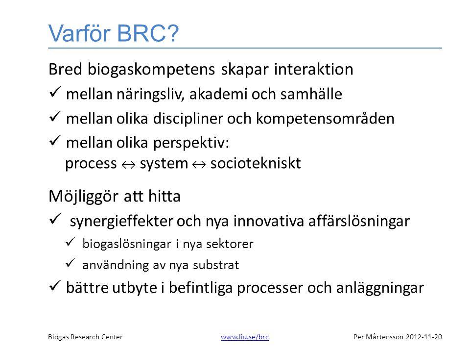 Biogas Research Centerwww.liu.se/brcPer Mårtensson 2012-11-20www.liu.se/brc BRC etapp 1 •Energimyndigheten•Linköpings universitet •Kemira OYJ•Linköpings kommun •NSR AB •Scandinavian Biogas •Svensk Biogas•Swedish Biogas International •Tekniska Verken •Biototal•LRF •Lantmännen •Energikontoret Östra Götaland•AgroÖst •Cleantech Östergötland•Grontmij •Norrköpings kommun •Biologi•Energisystem •Industriell miljöteknik•Molekylär bioteknik •Tema Teknik och social förändring •Tema Vatten i natur och samhälle