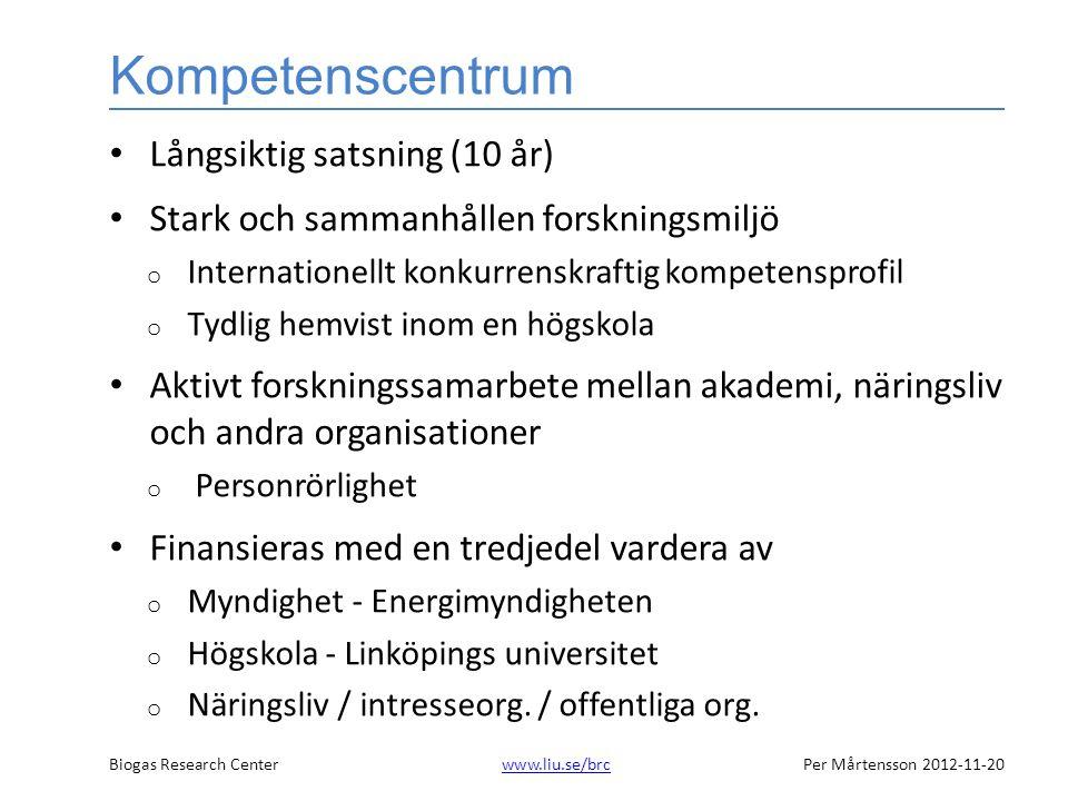 Biogas Research Centerwww.liu.se/brcPer Mårtensson 2012-11-20www.liu.se/brc Kompetenscentrum • Långsiktig satsning (10 år) • Stark och sammanhållen forskningsmiljö o Internationellt konkurrenskraftig kompetensprofil o Tydlig hemvist inom en högskola • Aktivt forskningssamarbete mellan akademi, näringsliv och andra organisationer o Personrörlighet • Finansieras med en tredjedel vardera av o Myndighet - Energimyndigheten o Högskola - Linköpings universitet o Näringsliv / intresseorg.