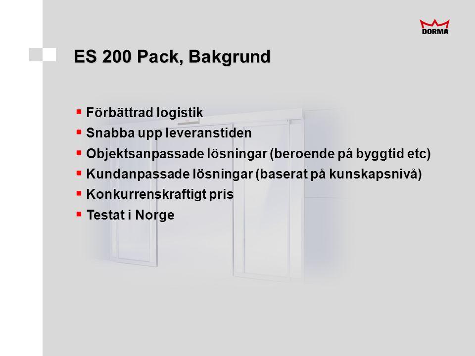 ES 200 Pack, Bakgrund  Förbättrad logistik  Snabba upp leveranstiden  Objektsanpassade lösningar (beroende på byggtid etc)  Kundanpassade lösningar (baserat på kunskapsnivå)  Konkurrenskraftigt pris  Testat i Norge