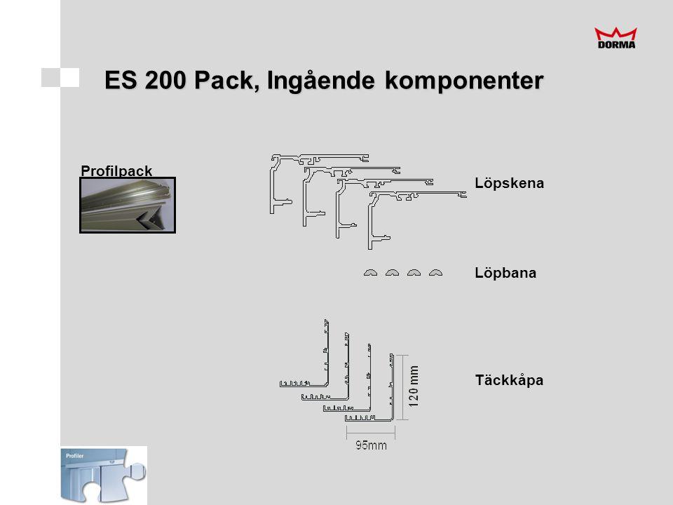 Mekanikpack Löpbanegummi Dörrstopp Löpvagnar Distansplattor MDU-fäste Täckkåpsfäste Dörrbladsfäste Styrklots Kåpgavlar ES 200 Pack, Ingående komponenter