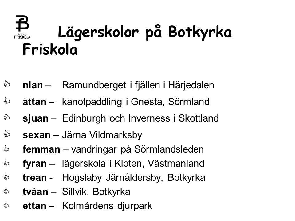 Lägerskolor på Botkyrka Friskola   nian – Ramundberget i fjällen i Härjedalen  åttan – kanotpaddling i Gnesta, Sörmland   sjuan – Edinburgh och I