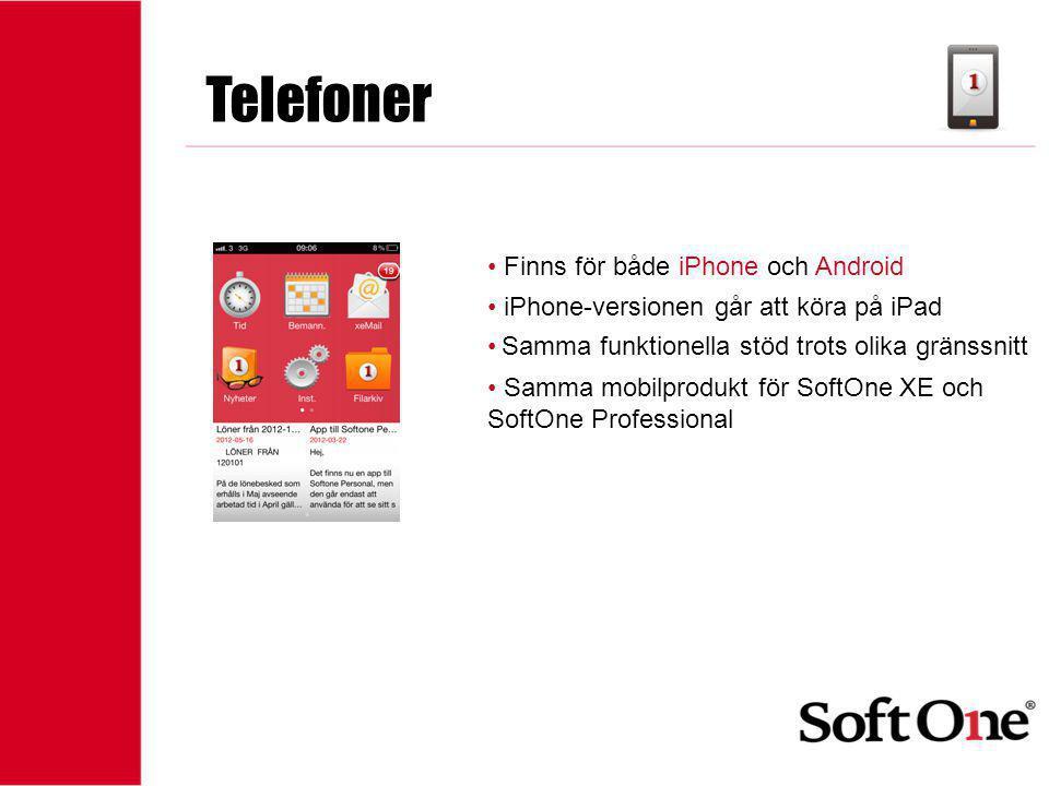 1-15 anställda Telefoner • Finns för både iPhone och Android • iPhone-versionen går att köra på iPad • Samma funktionella stöd trots olika gränssnitt