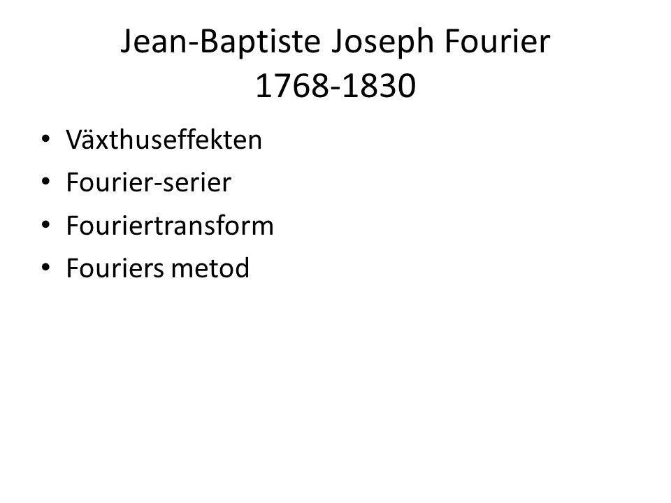 Jean-Baptiste Joseph Fourier 1768-1830 • Växthuseffekten • Fourier-serier • Fouriertransform • Fouriers metod