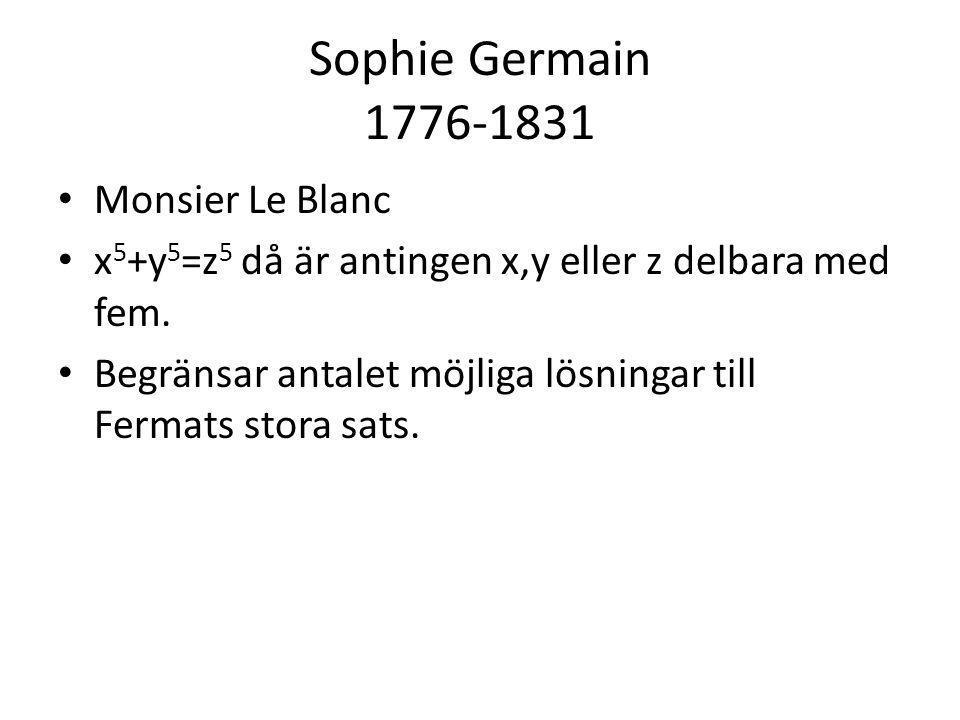 Sophie Germain 1776-1831 • Monsier Le Blanc • x 5 +y 5 =z 5 då är antingen x,y eller z delbara med fem. • Begränsar antalet möjliga lösningar till Fer