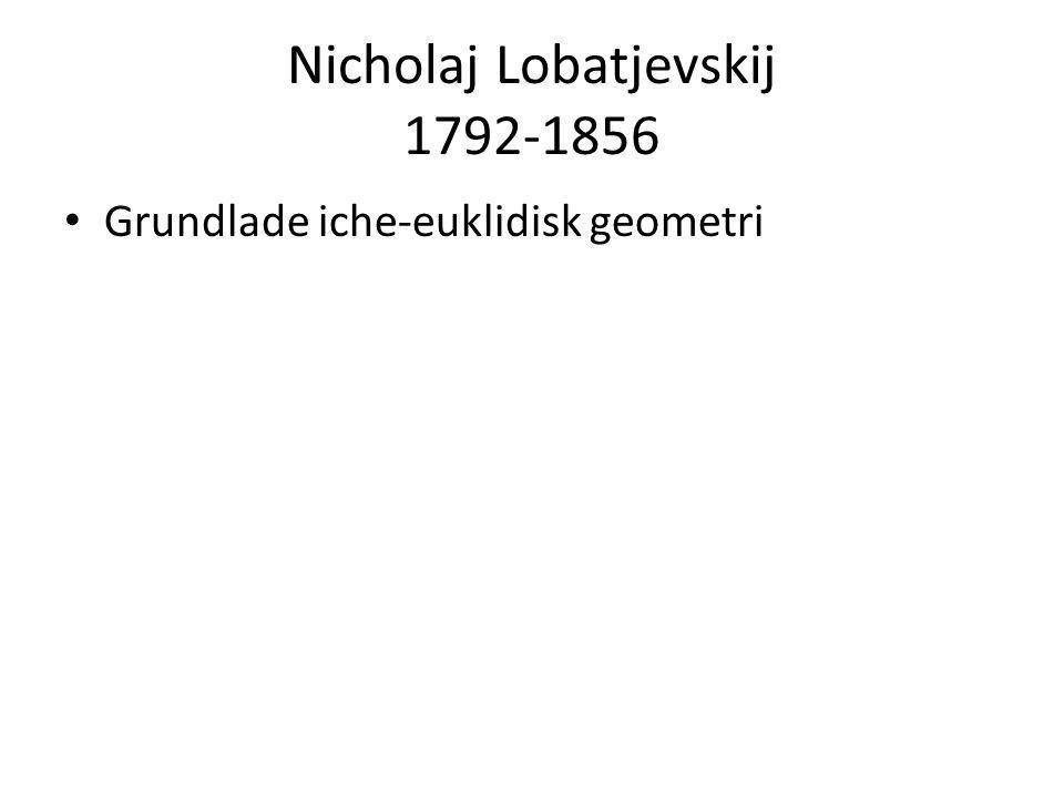 Nicholaj Lobatjevskij 1792-1856 • Grundlade iche-euklidisk geometri