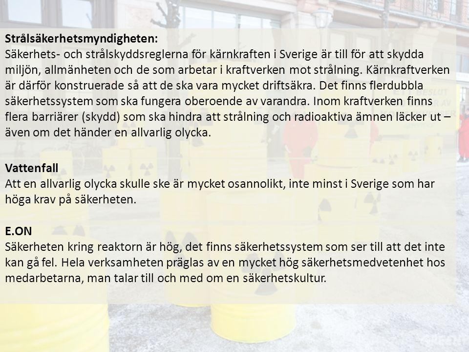 Strålsäkerhetsmyndigheten: Säkerhets- och strålskyddsreglerna för kärnkraften i Sverige är till för att skydda miljön, allmänheten och de som arbetar i kraftverken mot strålning.