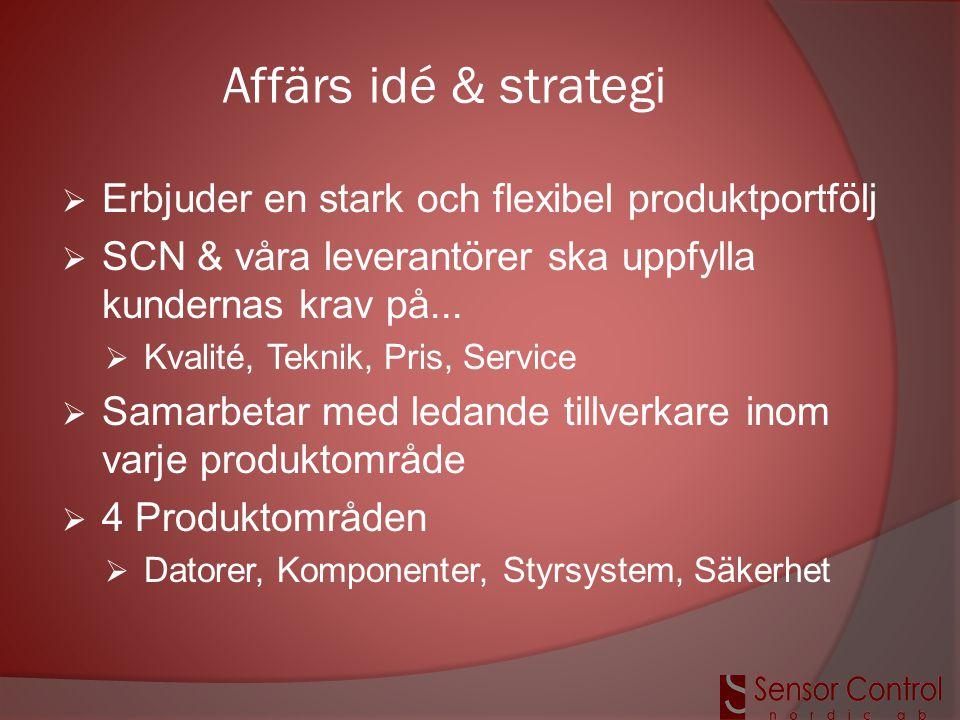 Affärs idé & strategi  Erbjuder en stark och flexibel produktportfölj  SCN & våra leverantörer ska uppfylla kundernas krav på...  Kvalité, Teknik,
