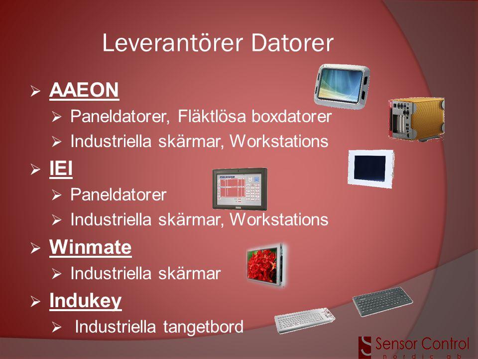 Leverantörer Datorer  AAEON  Paneldatorer, Fläktlösa boxdatorer  Industriella skärmar, Workstations  IEI  Paneldatorer  Industriella skärmar, Wo