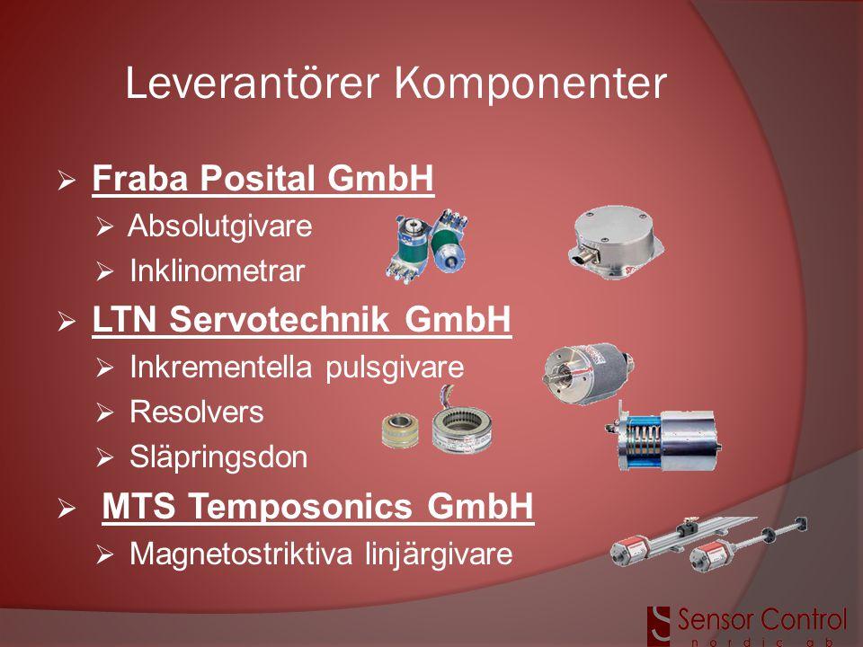 Leverantörer Komponenter  Fraba Posital GmbH  Absolutgivare  Inklinometrar  LTN Servotechnik GmbH  Inkrementella pulsgivare  Resolvers  Släprin