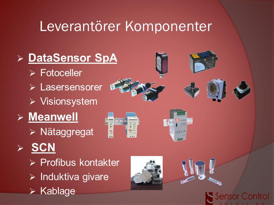 Leverantörer Komponenter  DataSensor SpA  Fotoceller  Lasersensorer  Visionsystem  Meanwell  Nätaggregat  SCN  Profibus kontakter  Induktiva